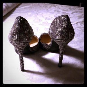 Jessica Simpson sz7, silver glitter heels